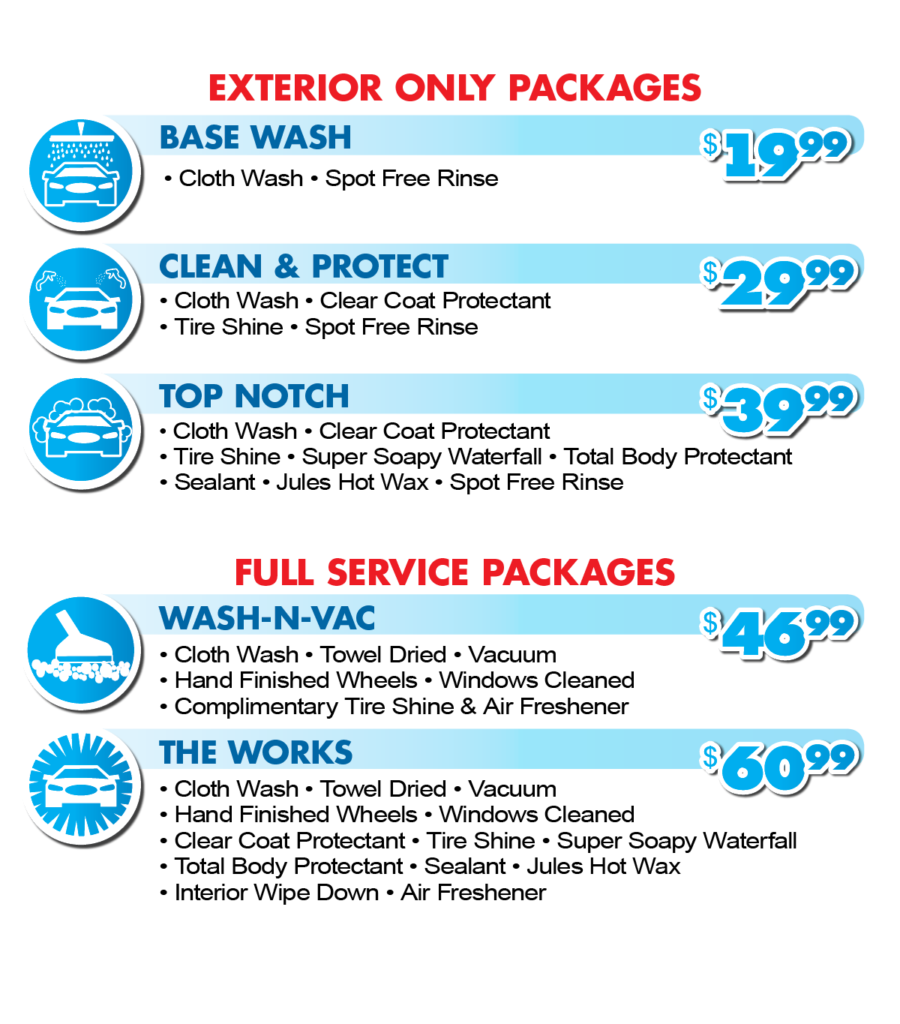 Car Wash Exterior Services Pricing Menu